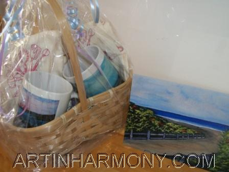 coffee mug gift basket with card