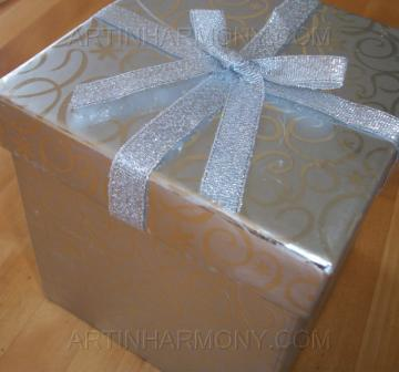 Artinharmony.com Silver Gift Box contains 4 Embrodery table napkins 1 Glass Candle holder